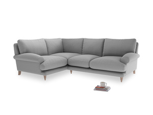 Large Left Hand Slowcoach Corner Sofa in Magnesium washed cotton linen