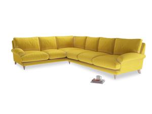 Xl Left Hand Slowcoach Corner Sofa in Bumblebee clever velvet