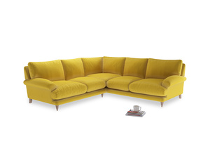 Even Sided Slowcoach Corner Sofa in Bumblebee clever velvet