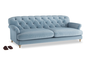 Extra large Truffle Sofa in Chalky blue vintage velvet