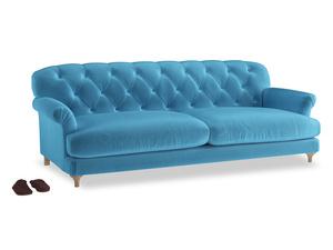 Extra large Truffle Sofa in Teal Blue plush velvet