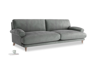 Extra large Slowcoach Sofa in Faded Charcoal beaten leather