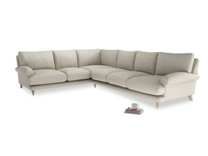 Xl Left Hand Slowcoach Corner Sofa in Thatch house fabric
