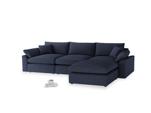 Large right hand  Cuddlemuffin Modular Chaise Sofa in Seriously Blue Clever Softie