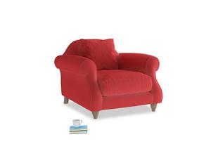 Sloucher Armchair in True Red Plush Velvet