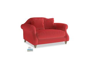 Sloucher Love Seat in True Red Plush Velvet