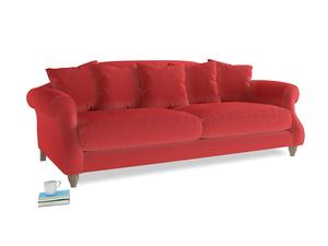 Large Sloucher Sofa in True Red Plush Velvet