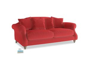 Medium Sloucher Sofa in True Red Plush Velvet