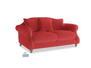 Small Sloucher Sofa in True Red Plush Velvet