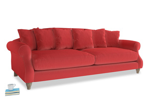Extra Large Sloucher Sofa in True Red Plush Velvet