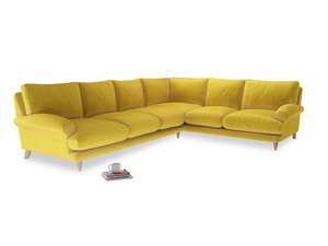 Xl Right Hand Slowcoach Corner Sofa in Bumblebee clever velvet