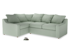Large Left Hand Cloud Corner Sofa in Soft Green Clever Softie