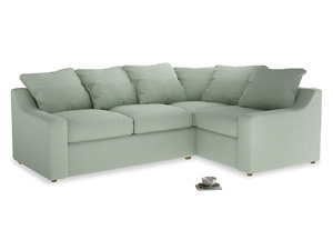 Large Right Hand Cloud Corner Sofa in Soft Green Clever Softie
