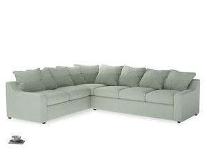Xl Left Hand Cloud Corner Sofa in Soft Green Clever Softie