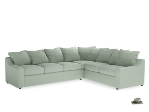 Xl Right Hand Cloud Corner Sofa in Soft Green Clever Softie