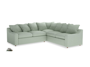 Even Sided Cloud Corner Sofa in Soft Green Clever Softie