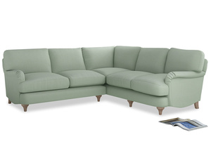 Even Sided Jonesy Corner Sofa in Soft Green Clever Softie