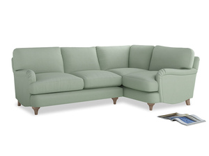 Large Right Hand Jonesy Corner Sofa in Soft Green Clever Softie
