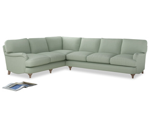 Xl Left Hand Jonesy Corner Sofa in Soft Green Clever Softie