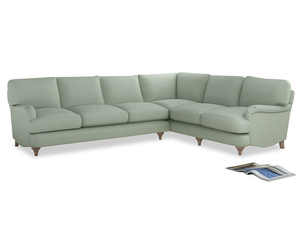 Xl Right Hand Jonesy Corner Sofa in Soft Green Clever Softie