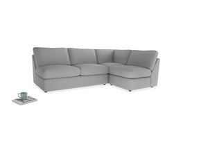 Large right hand Chatnap modular corner storage sofa in Pewter Clever Softie