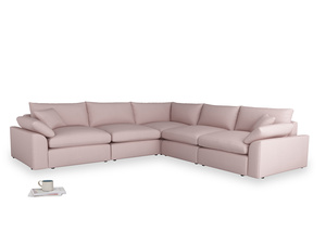 Even Sided Cuddlemuffin Modular Corner Sofa in Potter's pink Clever Linen
