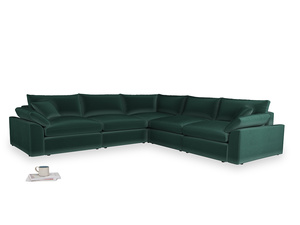 Even Sided Cuddlemuffin Modular Corner Sofa in Dark green Clever Velvet