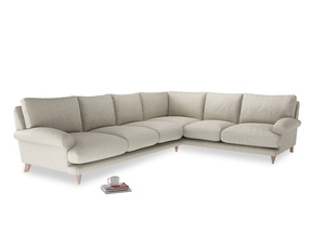 Xl Right Hand Slowcoach Corner Sofa in Thatch house fabric
