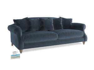 Large Sloucher Sofa in Liquorice Blue clever velvet