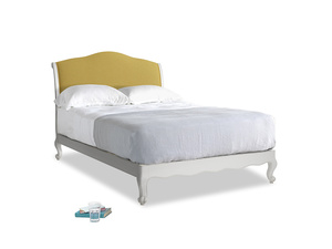 Double Coco Bed in Scuffed Grey in Easy Yellow Clever Woolly Fabric
