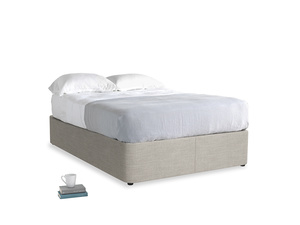 Double Store Storage Bed in Grey Daybreak Clever Laundered Linen