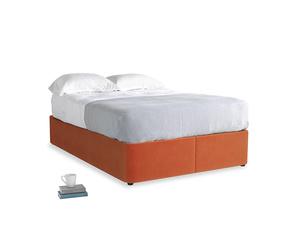 Double Store Storage Bed in Old Orange Clever Deep Velvet