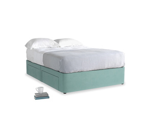 Double Tight Space Storage Bed in Greeny Blue Clever Deep Velvet