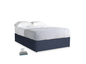 Double Tight Space Storage Bed in Night Owl Blue Clever Woolly Fabric