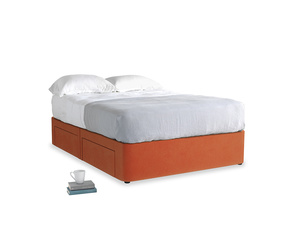 Double Tight Space Storage Bed in Old Orange Clever Deep Velvet