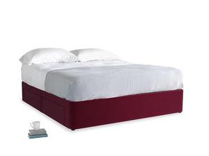 Superking Tight Space Storage Bed in Merlot Plush Velvet