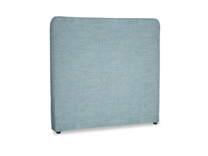 Double Ruffle Headboard in Soft Blue Clever Laundered Linen