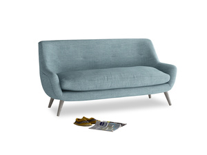 Medium Berlin Sofa in Soft Blue Clever Laundered Linen