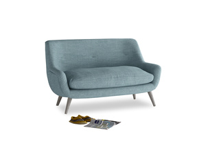 Small Berlin Sofa in Soft Blue Clever Laundered Linen