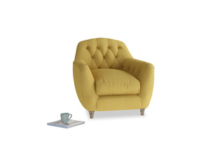 Butterbump Armchair in Easy Yellow Clever Woolly Fabric