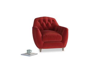 Butterbump Armchair in Rusted Ruby Vintage Velvet