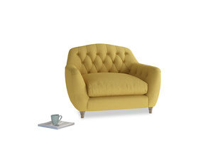 Love Seat Butterbump Love Seat in Easy Yellow Clever Woolly Fabric
