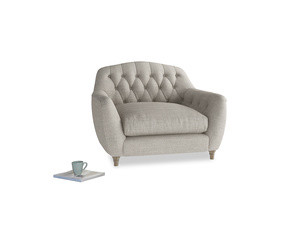 Love Seat Butterbump Love Seat in Grey Daybreak Clever Laundered Linen