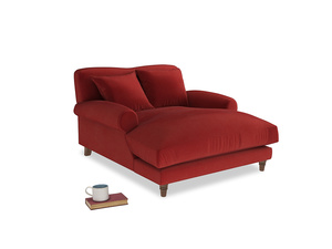 Crumpet Love Seat Chaise in Rusted Ruby Vintage Velvet