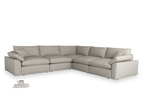 Even Sided Cuddlemuffin Modular Corner Sofa in Grey Daybreak Clever Laundered Linen