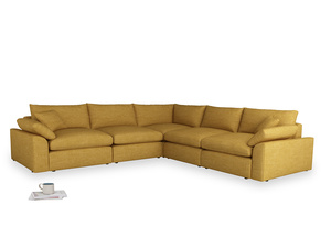 Even Sided Cuddlemuffin Modular Corner Sofa in Mellow Yellow Clever Laundered Linen