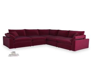 Even Sided Cuddlemuffin Modular Corner Sofa in Merlot Plush Velvet