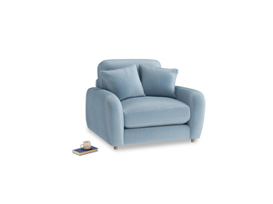 Easy Squeeze Armchair in Chalky blue vintage velvet