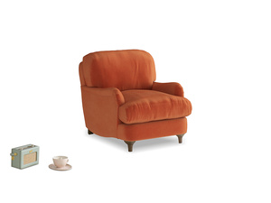 Jonesy Armchair in Old Orange Clever Deep Velvet