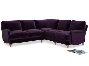 Even Sided Jonesy Corner Sofa in Deep Purple Clever Deep Velvet